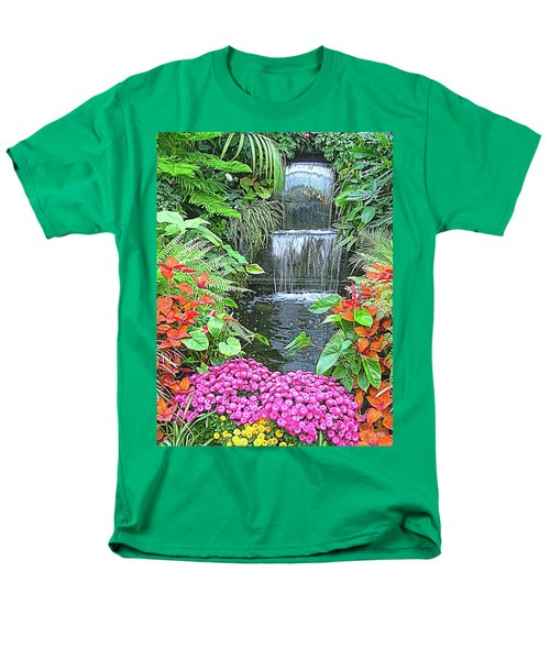 Men's T-Shirt  (Regular Fit) featuring the photograph Butchart Gardens Waterfall by Wendy McKennon