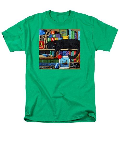 Men's T-Shirt  (Regular Fit) featuring the painting Cat Nap - Orginal Black Cat Painting by Linda Apple