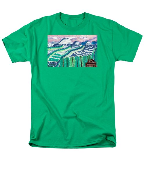 Men's T-Shirt  (Regular Fit) featuring the painting Colorado Cabin by Don Koester