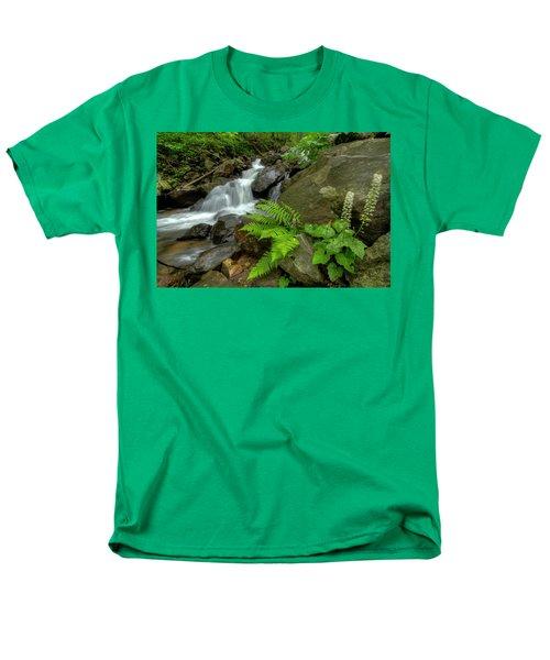 Men's T-Shirt  (Regular Fit) featuring the photograph Dreamy Waterfall Cascades by Debra and Dave Vanderlaan