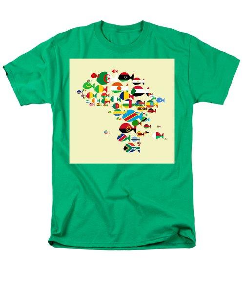 Fishes Map Of Africa Men's T-Shirt  (Regular Fit) by Keshava Shukla