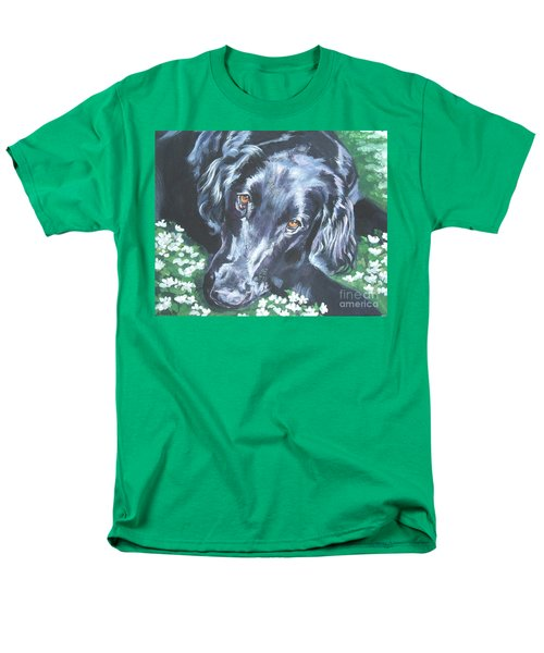 Men's T-Shirt  (Regular Fit) featuring the painting Flat Coated Retriever by Lee Ann Shepard