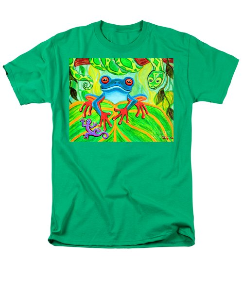 Frog Snake And Gecko In The Rainforest Men's T-Shirt  (Regular Fit) by Nick Gustafson