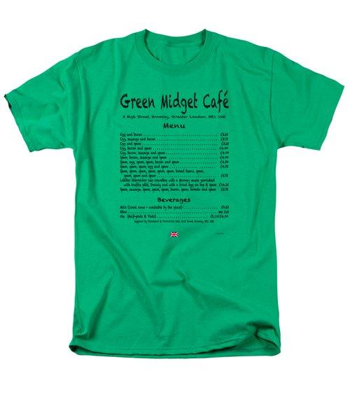 Green Midget Cafe Menu T-shirt Black Letters Men's T-Shirt  (Regular Fit) by Robert J Sadler
