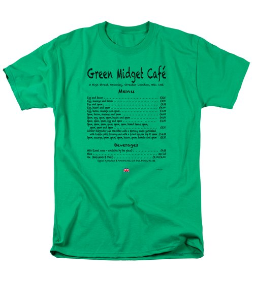 Green Midget Cafe Menu T-shirt Black Letters Men's T-Shirt  (Regular Fit)