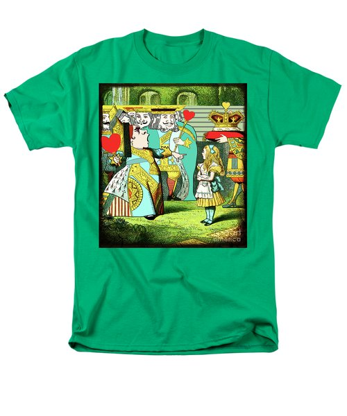 Lewis Carrolls Alice, Red Queen And Cards Men's T-Shirt  (Regular Fit) by Marian Cates