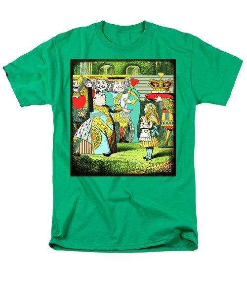 Lewis Carrolls Alice, Red Queen And Cards Men's T-Shirt  (Regular Fit)
