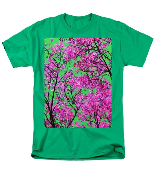Natures Magic - Pink And Green Men's T-Shirt  (Regular Fit) by Rebecca Harman
