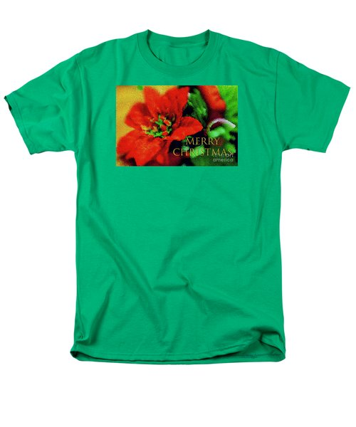 Painted Poinsettia Merry Christmas Men's T-Shirt  (Regular Fit) by Sandy Moulder