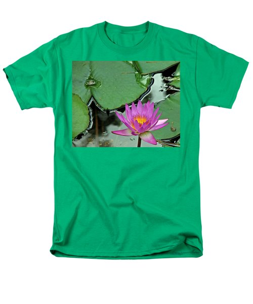 Men's T-Shirt  (Regular Fit) featuring the photograph Pink Water Lily by Judy Vincent