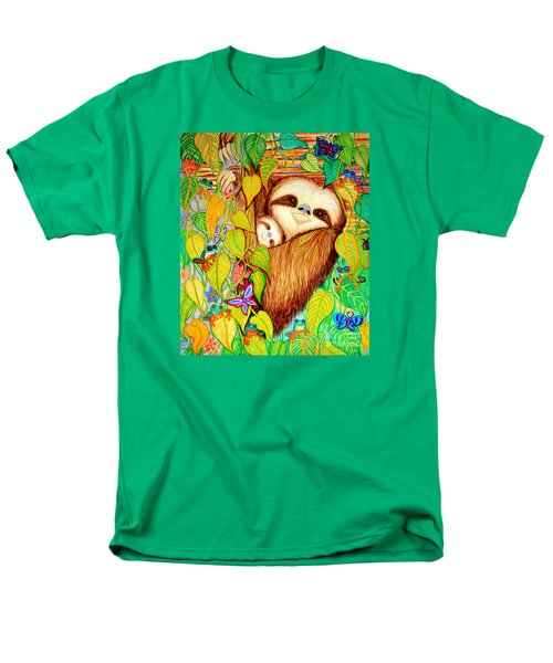 Rain Forest Survival Mother And Baby Three Toed Sloth Men's T-Shirt  (Regular Fit) by Nick Gustafson