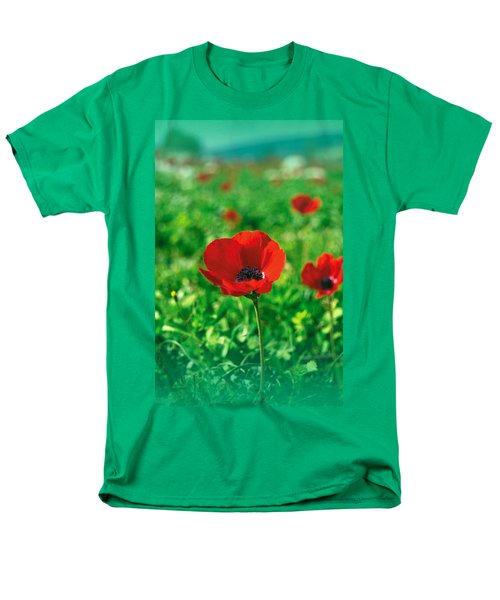 Red Anemone Coronaria T-shirt Men's T-Shirt  (Regular Fit) by Isam Awad
