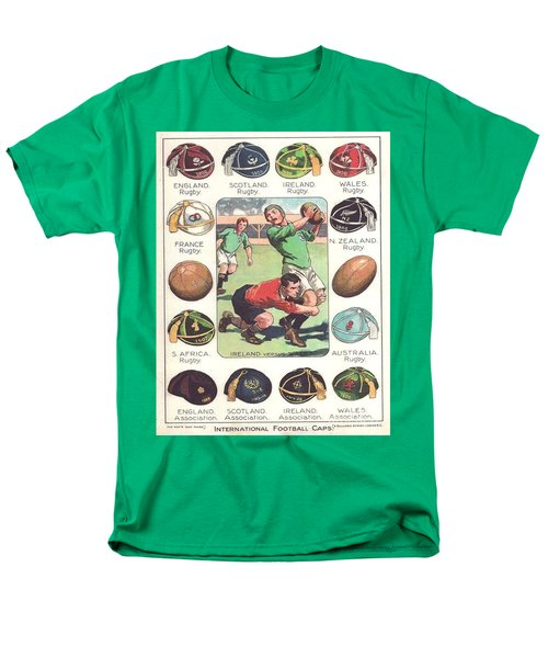 Men's T-Shirt  (Regular Fit) featuring the painting Rugby Caps - Vintage by Pg Reproductions