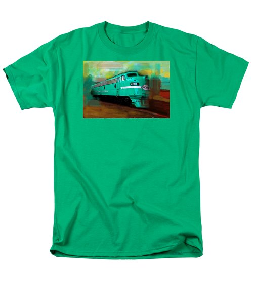 Men's T-Shirt  (Regular Fit) featuring the painting Flash II  The Ny Central 4083  Train  by Iconic Images Art Gallery David Pucciarelli