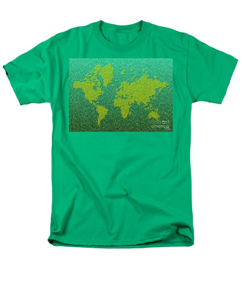 World Map Kotak In Green And Yellow Men's T-Shirt  (Regular Fit) by Eleven Corners