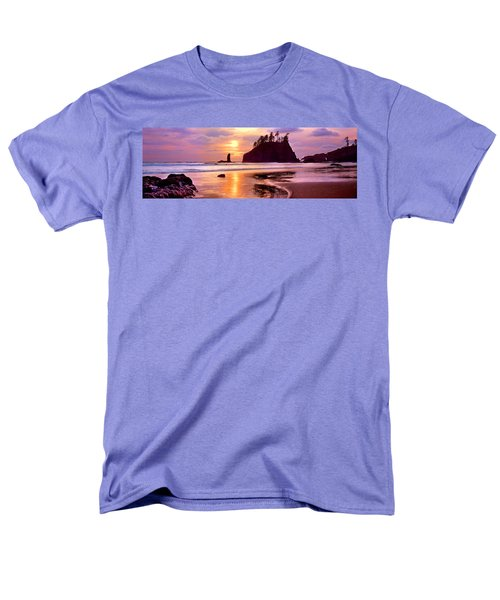 Silhouette Of Sea Stacks At Sunset Men's T-Shirt  (Regular Fit) by Panoramic Images