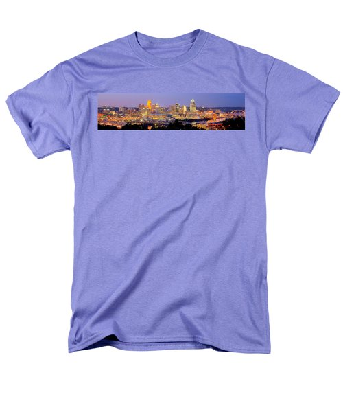 Men's T-Shirt  (Regular Fit) featuring the photograph Cincinnati Skyline At Dusk Sunset Color Panorama Ohio by Jon Holiday