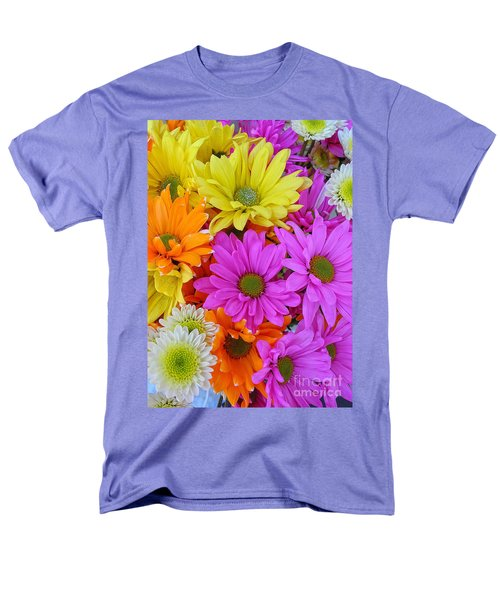 Men's T-Shirt  (Regular Fit) featuring the photograph Colorful Daisies by Sami Martin