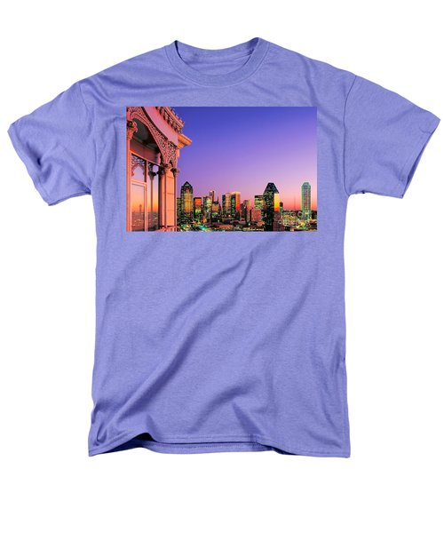 Dallas Skyline At Dusk Men's T-Shirt  (Regular Fit) by David Perry Lawrence