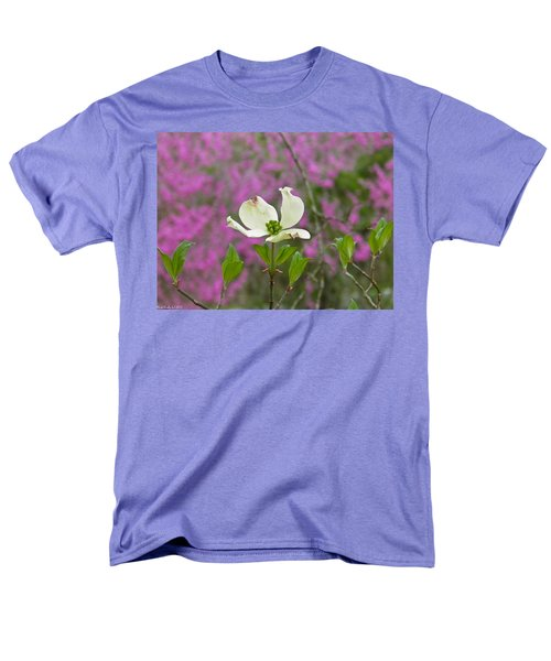Dogwood Bloom Against A Redbud Men's T-Shirt  (Regular Fit) by Nick Kirby