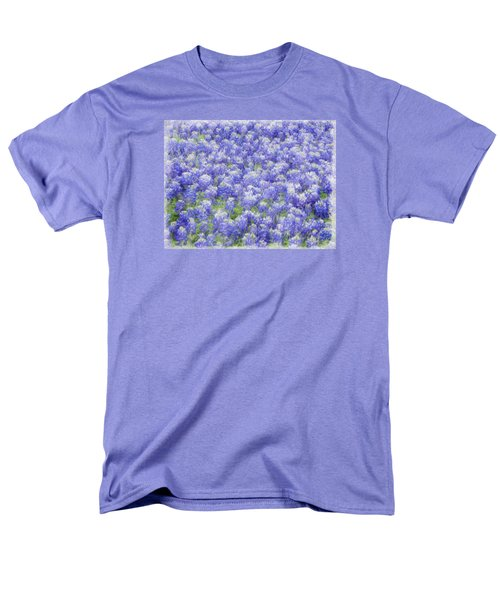 Men's T-Shirt  (Regular Fit) featuring the photograph Field Of Bluebonnets by Kathy Churchman