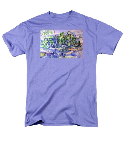 Men's T-Shirt  (Regular Fit) featuring the painting Fig Tree And Olive Trees In A Tuscan Garden by Trudi Doyle