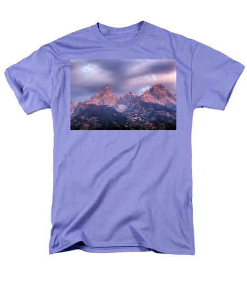 Men's T-Shirt  (Regular Fit) featuring the photograph Grand Teton In Morning Clouds by Alan Vance Ley