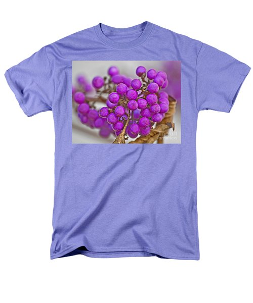 Men's T-Shirt  (Regular Fit) featuring the photograph Macro Of Purple Beautyberries Callicarpa Plant Art Prints by Valerie Garner