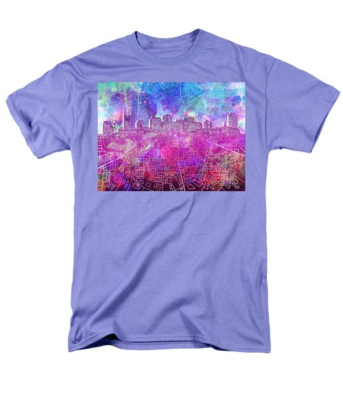 Nashville Skyline Watercolor Men's T-Shirt  (Regular Fit)