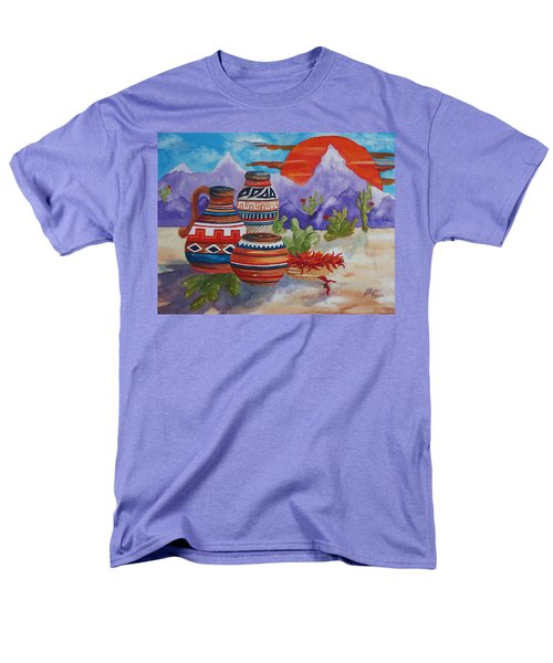 Painted Pots And Chili Peppers Men's T-Shirt  (Regular Fit) by Ellen Levinson