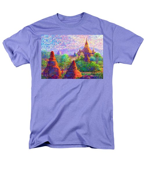 Men's T-Shirt  (Regular Fit) featuring the painting Bagan, Burma, Sacred Spires by Jane Small
