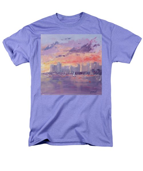 Setting Sun Over Boston  Men's T-Shirt  (Regular Fit) by Laura Lee Zanghetti