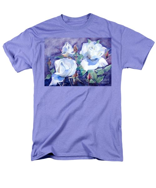 Men's T-Shirt  (Regular Fit) featuring the painting White Roses With Red Buds On Blue Field by Greta Corens