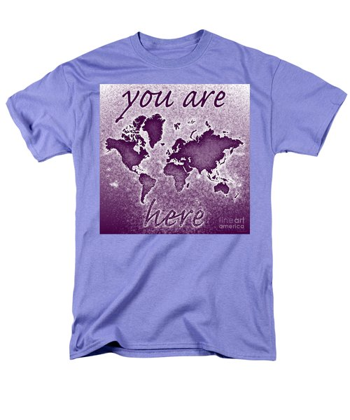 World Map You Are Here Novo In Purple Men's T-Shirt  (Regular Fit) by Eleven Corners