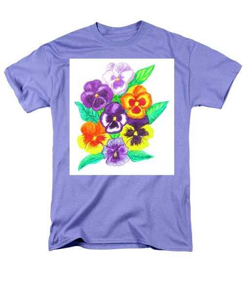 Pansies, Watercolour Painting Men's T-Shirt  (Regular Fit) by Irina Afonskaya