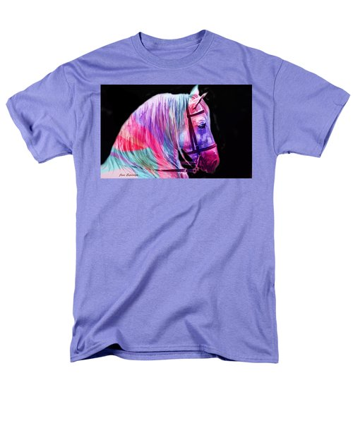 Men's T-Shirt  (Regular Fit) featuring the painting Abstract White Horse 55 by J- J- Espinoza