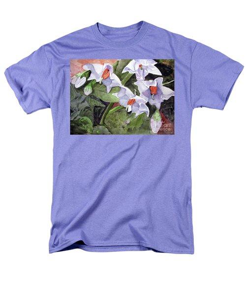 Amanda's Blue Potato Flowers Men's T-Shirt  (Regular Fit) by Sandy McIntire