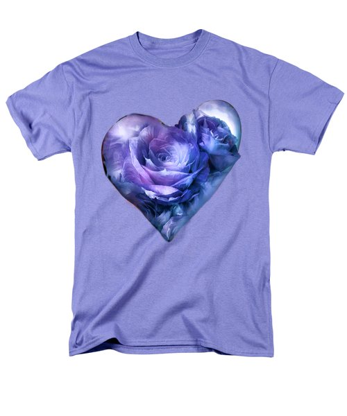 Men's T-Shirt  (Regular Fit) featuring the mixed media Heart Of A Rose - Lavender Blue by Carol Cavalaris