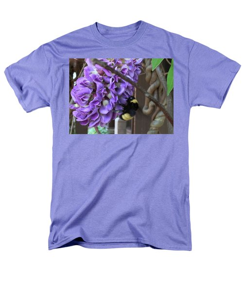 Men's T-Shirt  (Regular Fit) featuring the painting Bee On Native Wisteria by Angela Annas