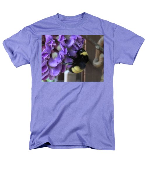 Men's T-Shirt  (Regular Fit) featuring the painting Bee On Native Wisteria I by Angela Annas