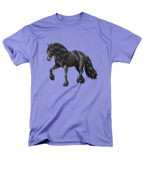 Black Friesian Horse In Snow Men's T-Shirt  (Regular Fit) by Crista Forest