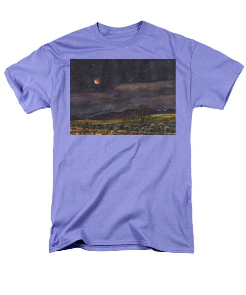 Men's T-Shirt  (Regular Fit) featuring the painting Blood Moon Over Boulder by Anne Gifford