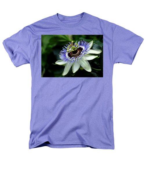 Blue Crown Passion Flower Men's T-Shirt  (Regular Fit) by Debbie Oppermann