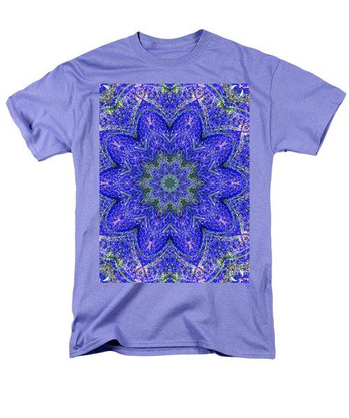 Blue Purple Lavender Floral Kaleidoscope Wall Art Print Men's T-Shirt  (Regular Fit) by Carol F Austin