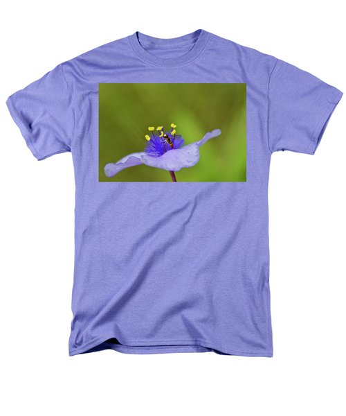 Men's T-Shirt  (Regular Fit) featuring the photograph Busy Visitor - Syrphid Fly On Spiderwort by Jane Eleanor Nicholas