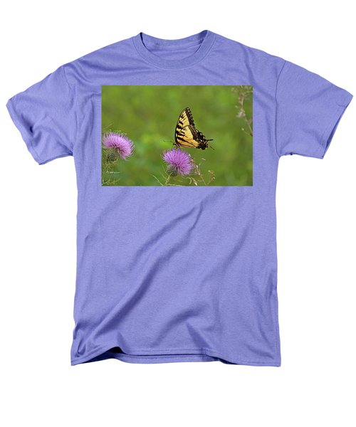 Men's T-Shirt  (Regular Fit) featuring the photograph Butterfly On Thistle by Sandy Keeton