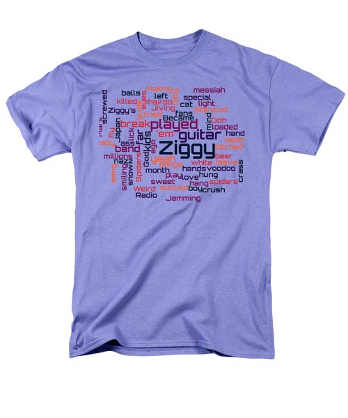 David Bowie - Ziggy Stardust Lyrical Cloud Men's T-Shirt  (Regular Fit) by Susan Maxwell Schmidt