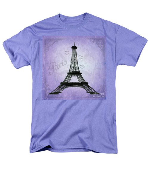 Eiffel Tower Collage Purple Men's T-Shirt  (Regular Fit) by Jim And Emily Bush