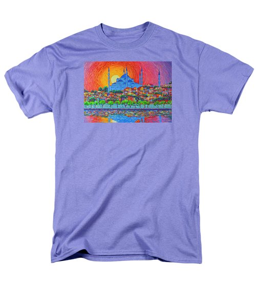 Fiery Sunset Over Blue Mosque Hagia Sophia In Istanbul Turkey Men's T-Shirt  (Regular Fit) by Ana Maria Edulescu