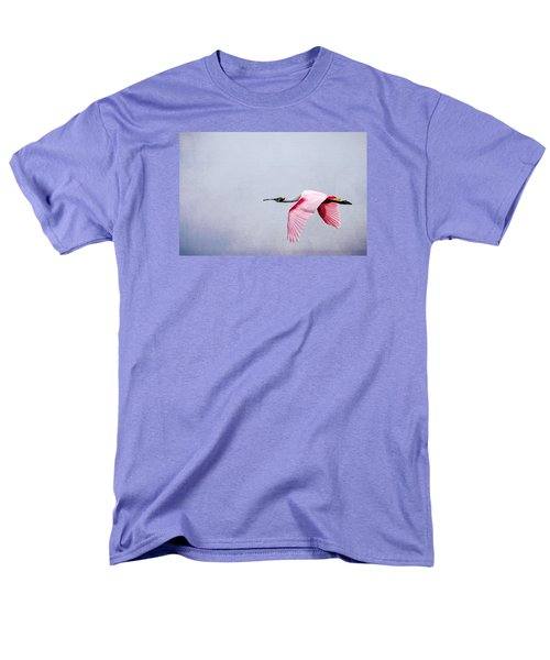 Flying Pretty - Roseate Spoonbill Men's T-Shirt  (Regular Fit) by Debra Martz